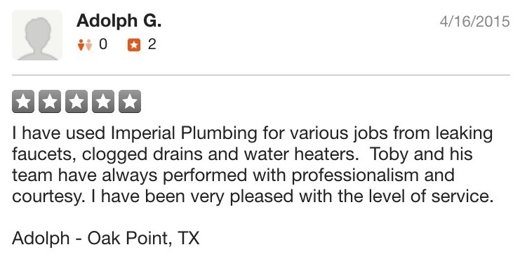 Screenshot of Yelp Review from Adolph G.