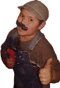 Toby's son, dressed up like a plumber